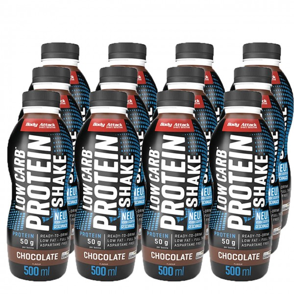 Body Attack Low Carb* Protein Shake (6x500ml)